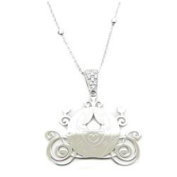 Collana 70 cm Con Ciondolo Carrozza di Cenerentola in Argento 925 Rodiato