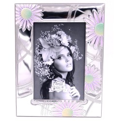 Silver Photo Frame 4 x 6 Daisies Decor