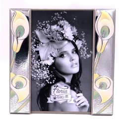 Silver Photo Frame 5 x 8 Side Bands Calle Lily Decor