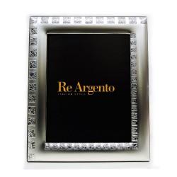 Cornice Portafoto Satinata Quadratini Rigati cm 13x18 in Argento