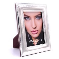 Cornice Portafoto in Argento Lucida Martellata Ricamo Interno Valenti Argenti cm 9x13