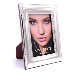 Picture Frame Glossy Hammered Embroidery by Valenti Argenti cm 9x13 in Silver