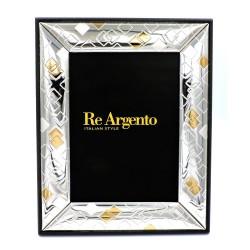 Cornice Portafoto Lucida Rombi Argento e Oro cm 13x18 in Argento