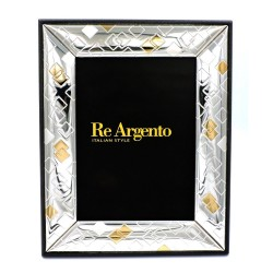 Silver Picture Frame Glossy Rhombus Silver and Gold cm 13x18