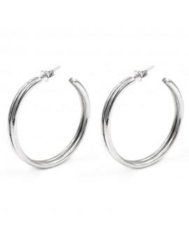 925 Sterling Silver Two Lines Hoop Earrings