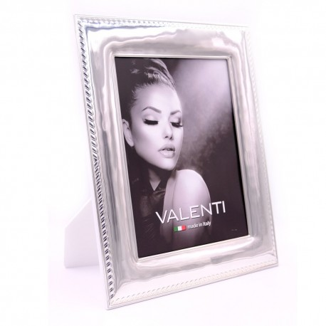 Picture Frame Glossy Rope Edge by Valenti Argenti White Back cm 18x24