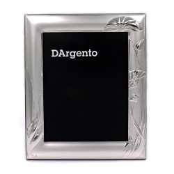 Cornice Portafoto Satinata Fiori Orientali cm 13x18 in Argento