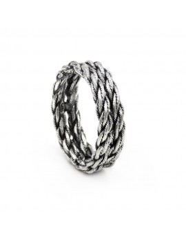 Burnished 925 Sterling Silver Rope Ring