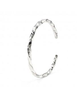 Hammered 925 Sterling Silver Oval Torchon Bracelet