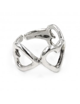 925 Sterling Silver 3 Hearts Ring