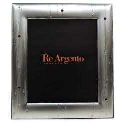 Cornice Portafoto Satinata Linee Astratte con Swarowski cm 20x25 in Argento