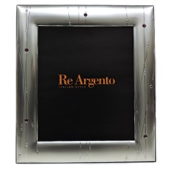 Silver Picture Frame Satin Abstract Lines with Swarovski cm 20x25