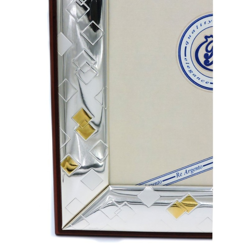 Silver Picture Frame Glossy Gold Rhombus Cm 18 X 24 Mb Argenti