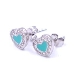 925 Sterling Silver Turquoise Heart Earrings with White Zircons