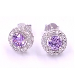 925 Sterling Silver Amethyst Earrings
