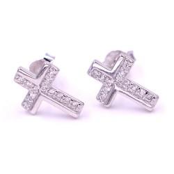 Orecchini Croce in Argento 925 e Zirconi Bianchi