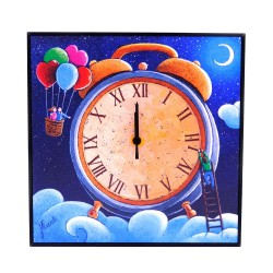 Lovers Alarm Clock Hand Painted Wooden Wall Clock
