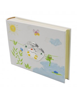 White Photo Album with Watercolor Decorations with Silver Bear