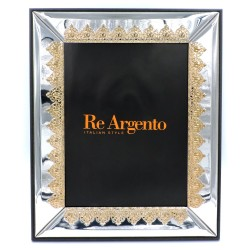 Silver Picture Frame Glossy with Golden Crowns cm 18 x 24