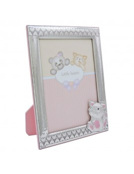 Baby Cat and Hearts Silver Picture Frame 5x7