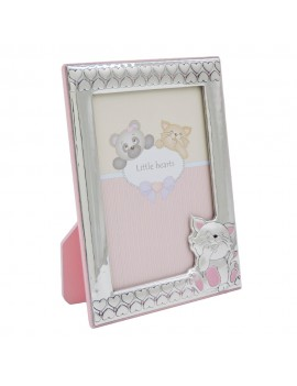 Baby Cat and Hearts Silver Picture Frame 3,5 x 5