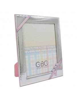 Silver Photo Frame Ribbon with Pink Bow 6x8