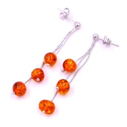 925 Sterling Silver Earrings with Amber