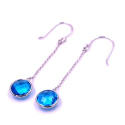925 Sterling Silver Earrings with Light Blue Stone