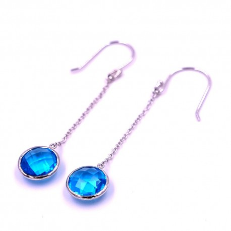 New 925 Sterling Silver Earrings With Light Blue Stone