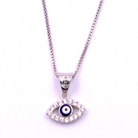 925 sterling silver necklace with eye of allah pendant mb new 925 sterling silver necklace with eye of allah pendant aloadofball Image collections