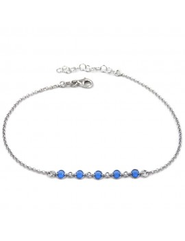 925 Sterling Silver Anklet with Blue Round Zirconia
