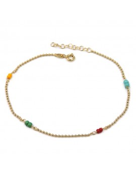Gold Plated 925 Sterling Silver Anklet with Colored Beads