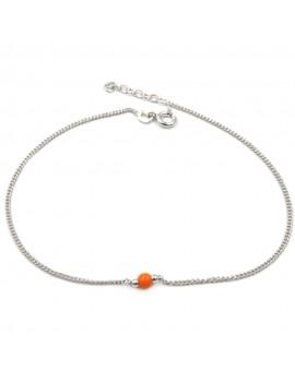 925 Sterling Silver Anklet with Orange Sphere