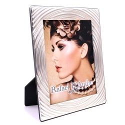 Silver Picture Frame Glossy Concentric Circles cm 18 x 24