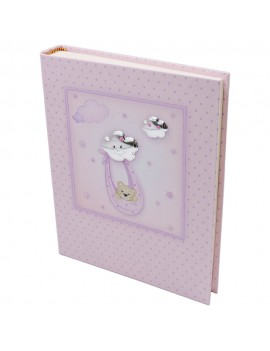 Pink Photo Album with Baby Bear and Clouds 8x10