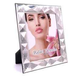 Silver Picture Frame Glossy Pyramids 7 x 9