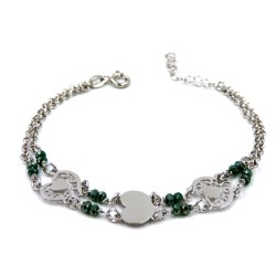 925 Sterling Silver Hearts Bracelet with Green Stones