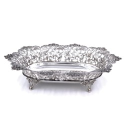 925 Sterling Silver ivy leaves oval dish