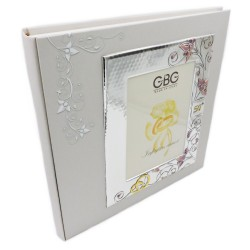Photo Album Fiftieth Anniversary with Enamelled Silver Cover Frame 5 x 7