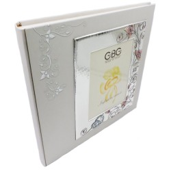 Photo Album 25th Anniversary with Enamelled Silver Cover Frame 5 x 7