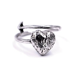 800 Sterling Silver Arrow in the Heart Ring