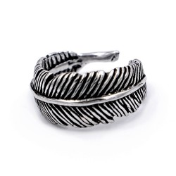 800 Sterling Silver Feather Ring