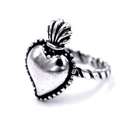 800 Sterling Silver Holy Heart Ring