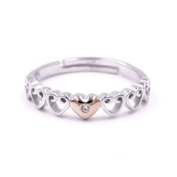 925 Sterling Silver Hearts Hug Ring
