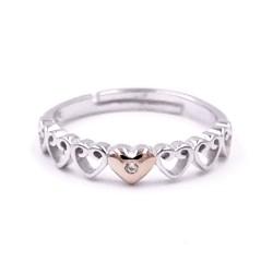 925 Sterling Silver Hearts Hug Ring