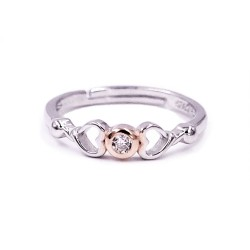 925 Sterling Silver Hearts Match Ring