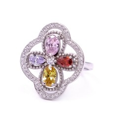 925 Sterling Silver Spring Ring with Colored Zircons