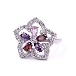 925 Sterling Silver Flower Ring with Colored Zircons