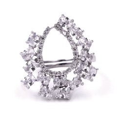 Light Drop 925 Sterling Silver Ring with White Zircons