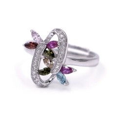 925 Sterling Silver Weave of Bufferflies Ring with Colored Zircons